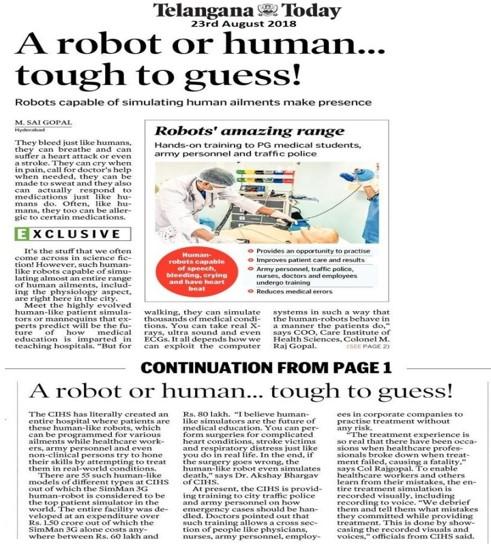 Robots Capable of Simulating Human Ailments